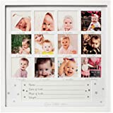 "1Dino My First Year Baby Keepsake Picture Frame - 13.2""x 13.2"" White Wood Baby Frame Hold 12 Months Photo Inserts - Newborn Baby Registry, Shower Gift for Boys and Girls, Wall or Desk Nursery Decor"
