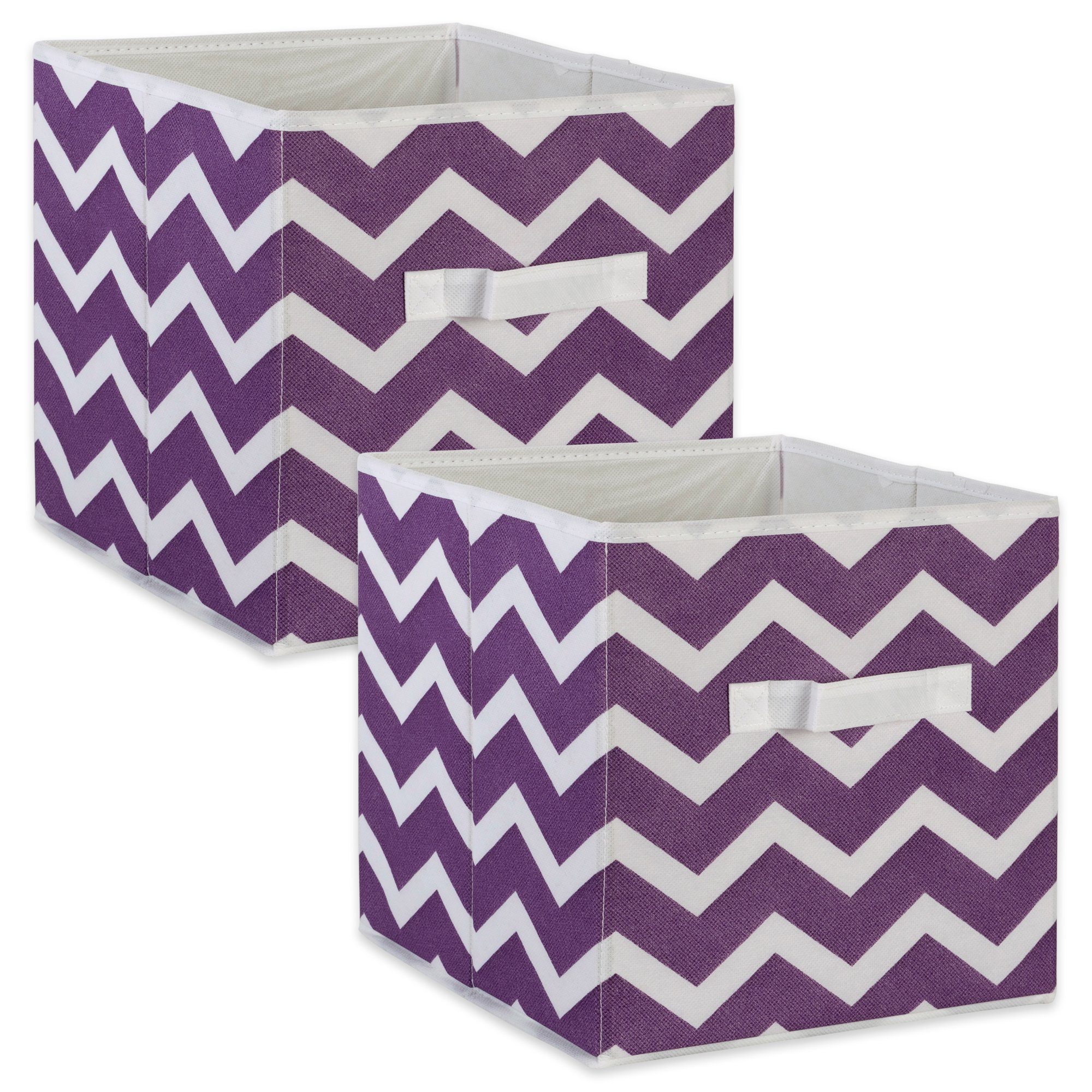 DII Fabric Storage Bins for Nursery, Offices, Home Organization, Containers are Made to Fit Standard Cube Organizers (11x11x11) Chevron Eggplant - Set of 2