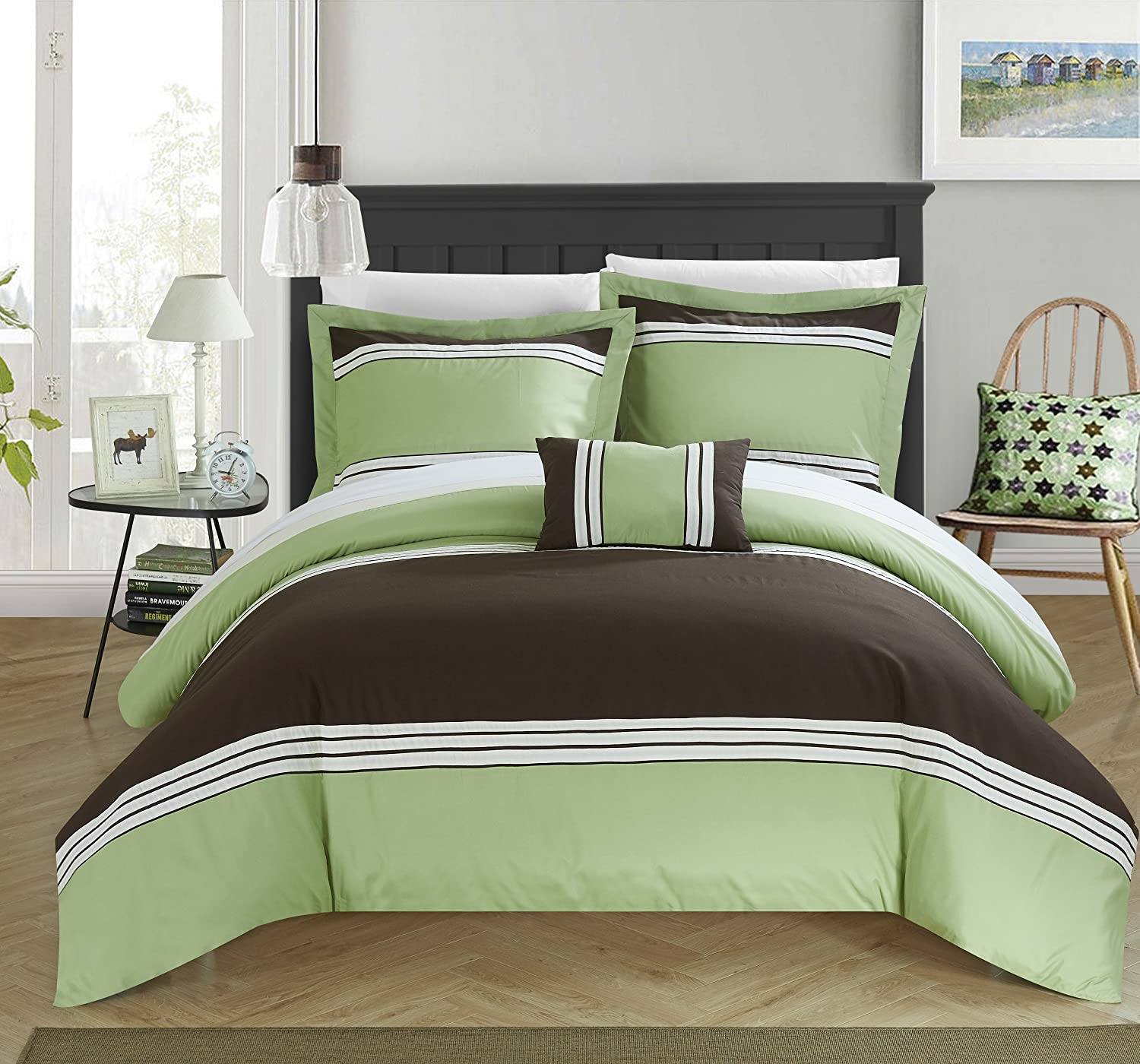 Chic Home 4 Piece Madison Hotel Collection Striped Patchwork Color Block Duvet Cover Set Shams And Decorative Pillows Included, King, Green