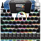 Pouring Masters 48 Color Ready to Pour Acrylic Pouring Paint Set - Premium Pre-Mixed High Flow 2-Ounce Bottles - For…