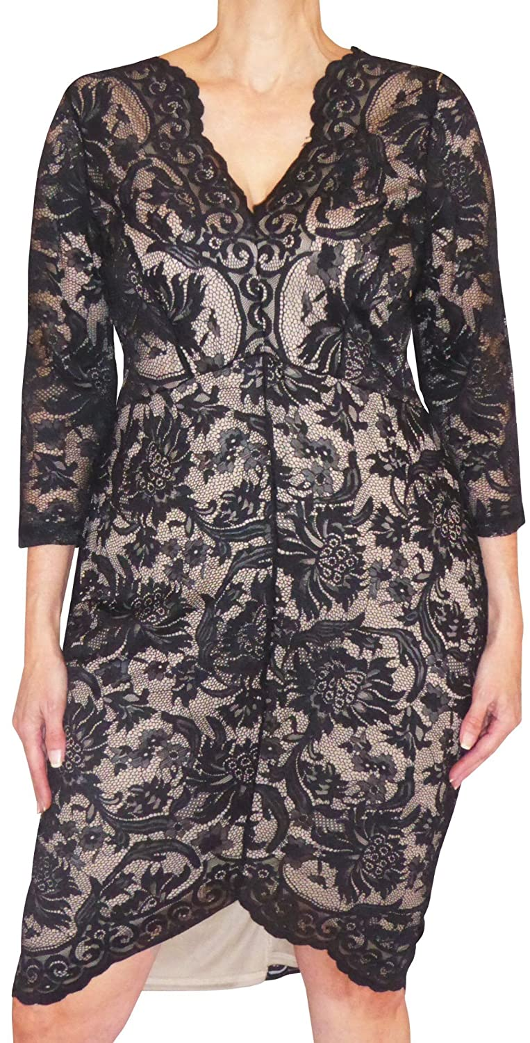 Funfash Plus Size Clothing Black Lace Slimming Women Cocktail Dress Made in USA