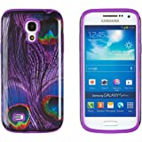 DandyCase 2in1 Hybrid High Impact Hard Purple Peacock Pattern + Purple Silicone Case Cover For Samsung Galaxy S4 Mini i9190 + DandyCase Screen Cleaner