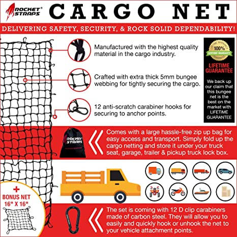 3x4 Super Duty Bungee Cargo Net Stretches to 6x8 for Oversized Rooftop Cargo Rack /& Small Trucks Narrow 3x3 Grid Holds Small /& Large Loads Tighter 12 Tangle-free 3 Carabiners 12 ABS Hooks