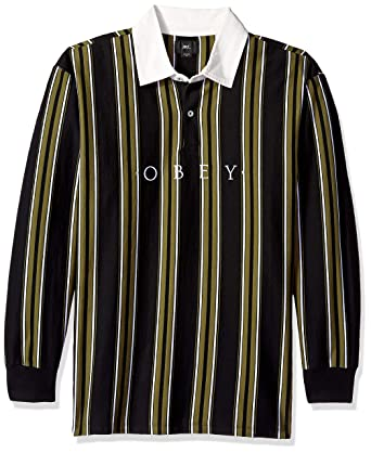 52a1564723f Amazon.com: Obey Men's Script Classic Long Sleeve Polo Shirt: Clothing