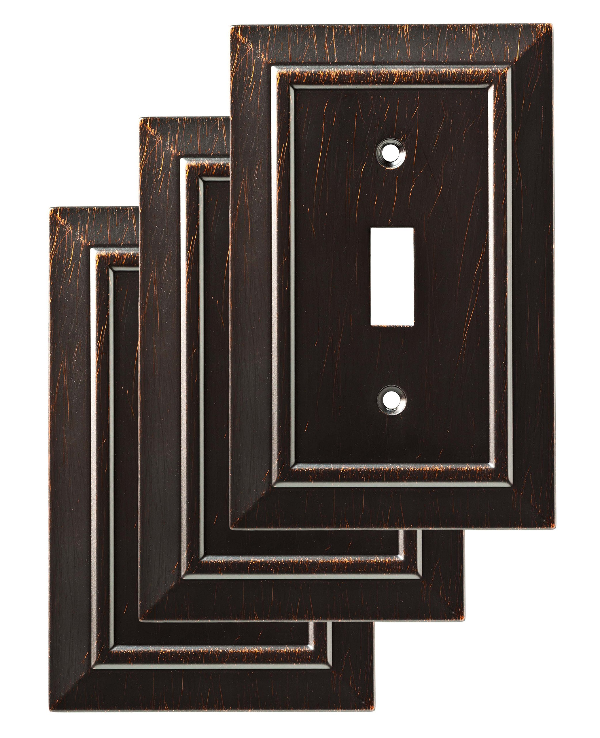 Franklin Brass W35217V-VBR-C Classic Architecture Single Switch Wall Plate/Switch Plate/Cover (3 Pack), Venetian Bronze by Franklin Brass