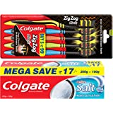 Colgate Active Salt Toothpaste - 300 g with Zig Zag Medium Toothbrush (Pack of 5, Black)