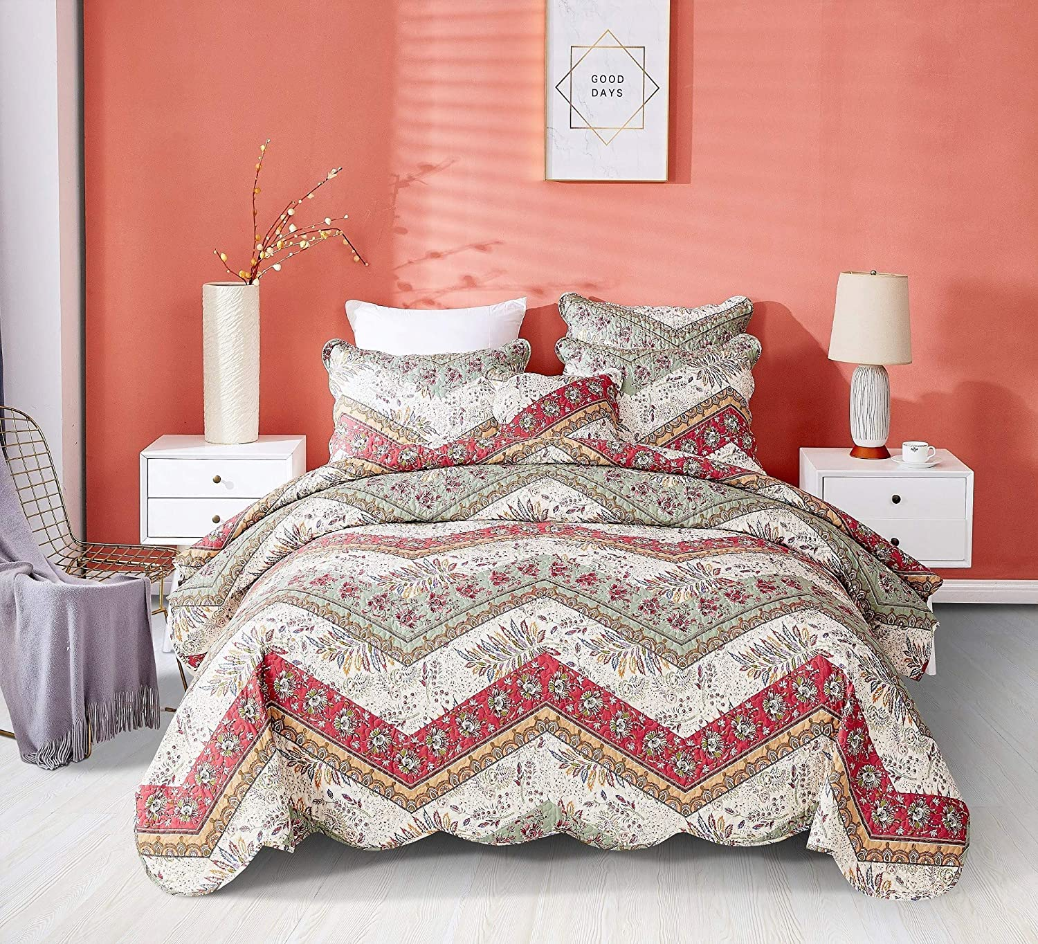 DaDa Bedding Bohemian Patchwork Bedspread - Rustic Cranberry Sage Chevron Floral Quilted Coverlet Set - Scalloped Edges Multi-Colorful Orange Red Green & Ivory White Background - Queen - 3-Pieces