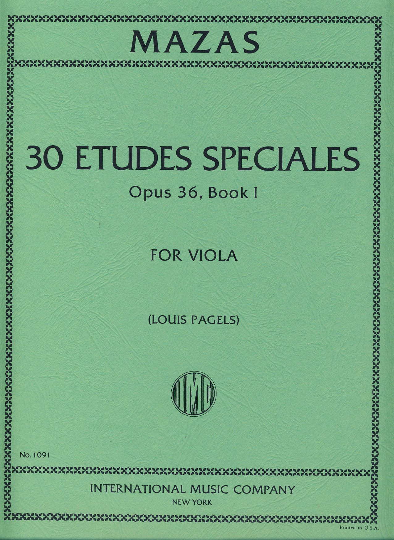 Mazas Jacques Fereol 30 Etudes Speciales Op. 36 Book 1 Viola solo - by Louis Pagels I nternational