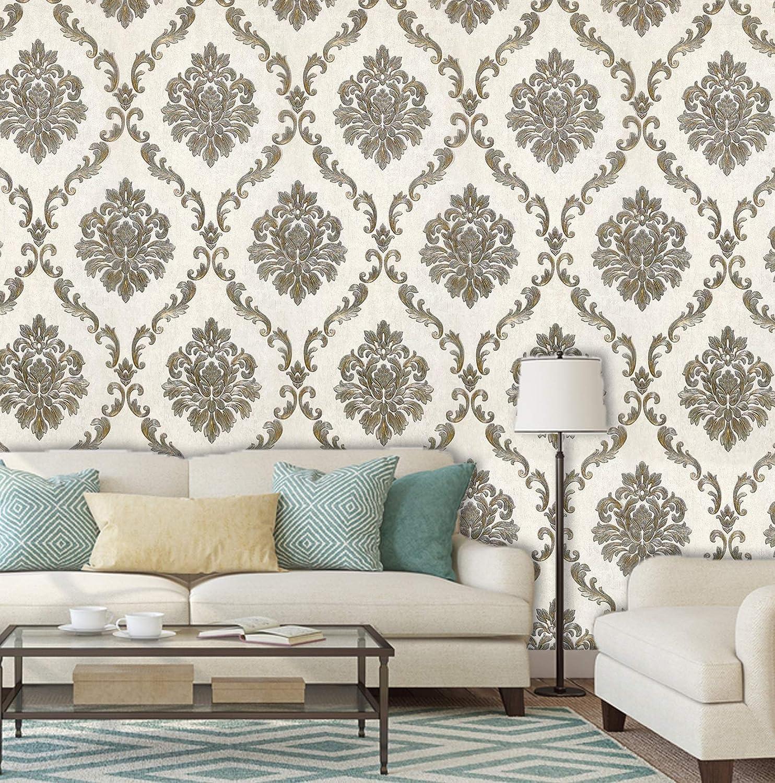 Konark Designer Wallpapers 3d Damask Design In Ivory Gold Color Emboss Finish 57 Sqft Per Roll Amazon In Home Improvement
