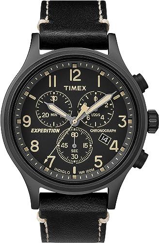 92d5544b70f6 Timex Reloj Cronógrafo para Hombre de Cuarzo con Correa en Cuero TW4B09100