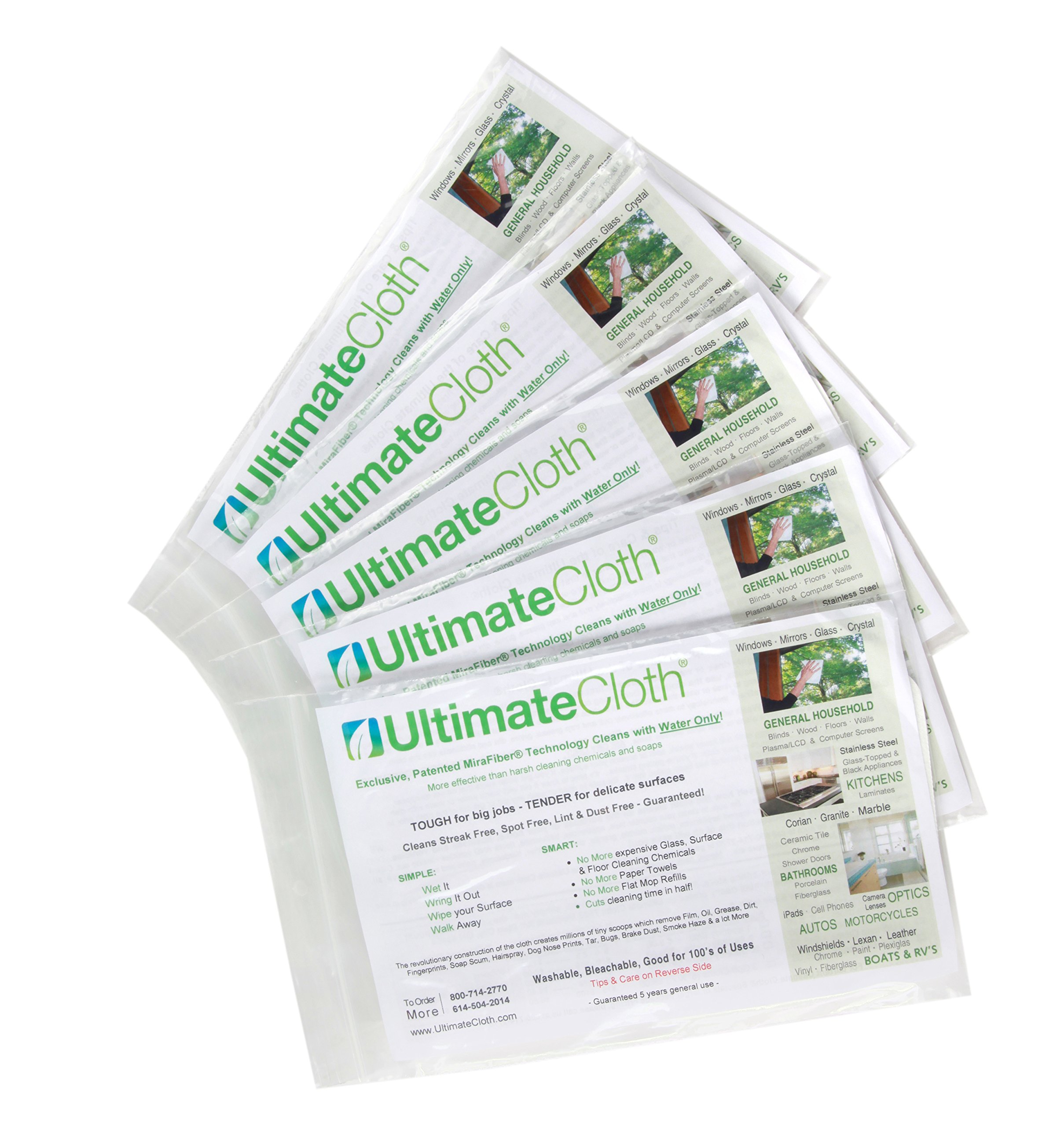 Ultimate Cloth The, Mirafiber - Advanced Microfiber Cleaning Cloth Reusable, EcoFriendly Chemical Free, Superior Multi-Surface Cleaning Cloth 5 Pack Medium Size White by Ultimate Cloth