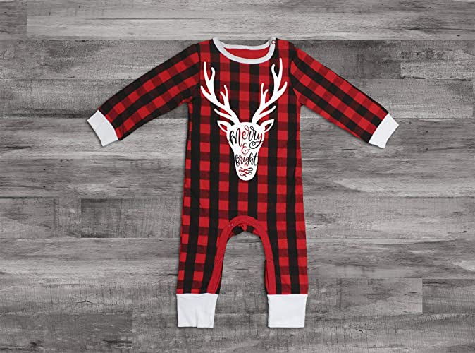e70dc5a7e927 Amazon.com  Baby Christmas Outfit Merry and Bright Shirt Baby Christmas  Romper Reindeer Outfit Toddler Christmas Outfit Buffalo Plaid Romper  Christmas  ...