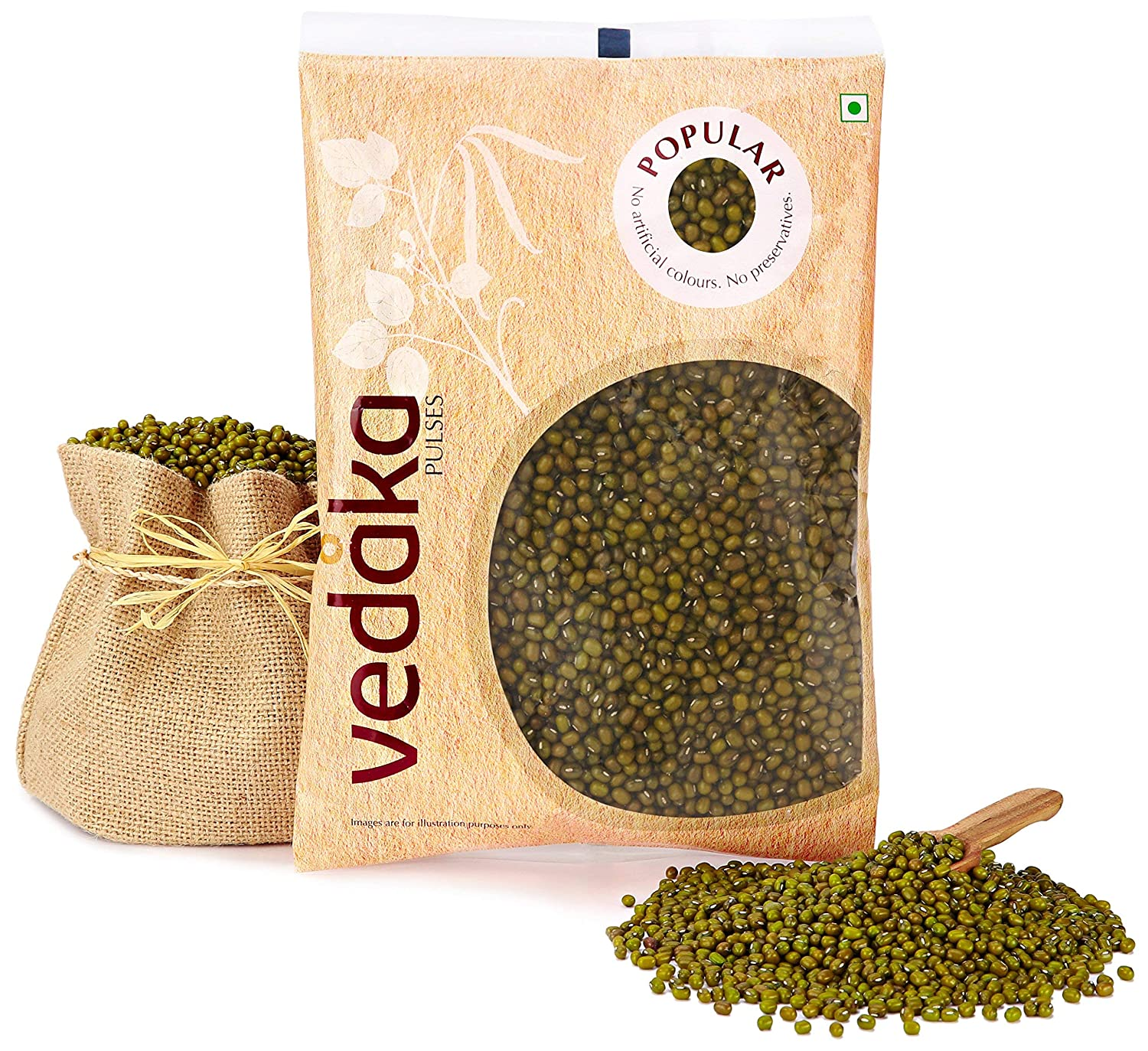 Vedaka Popular Green Moong Whole/Sabut, 1 kg