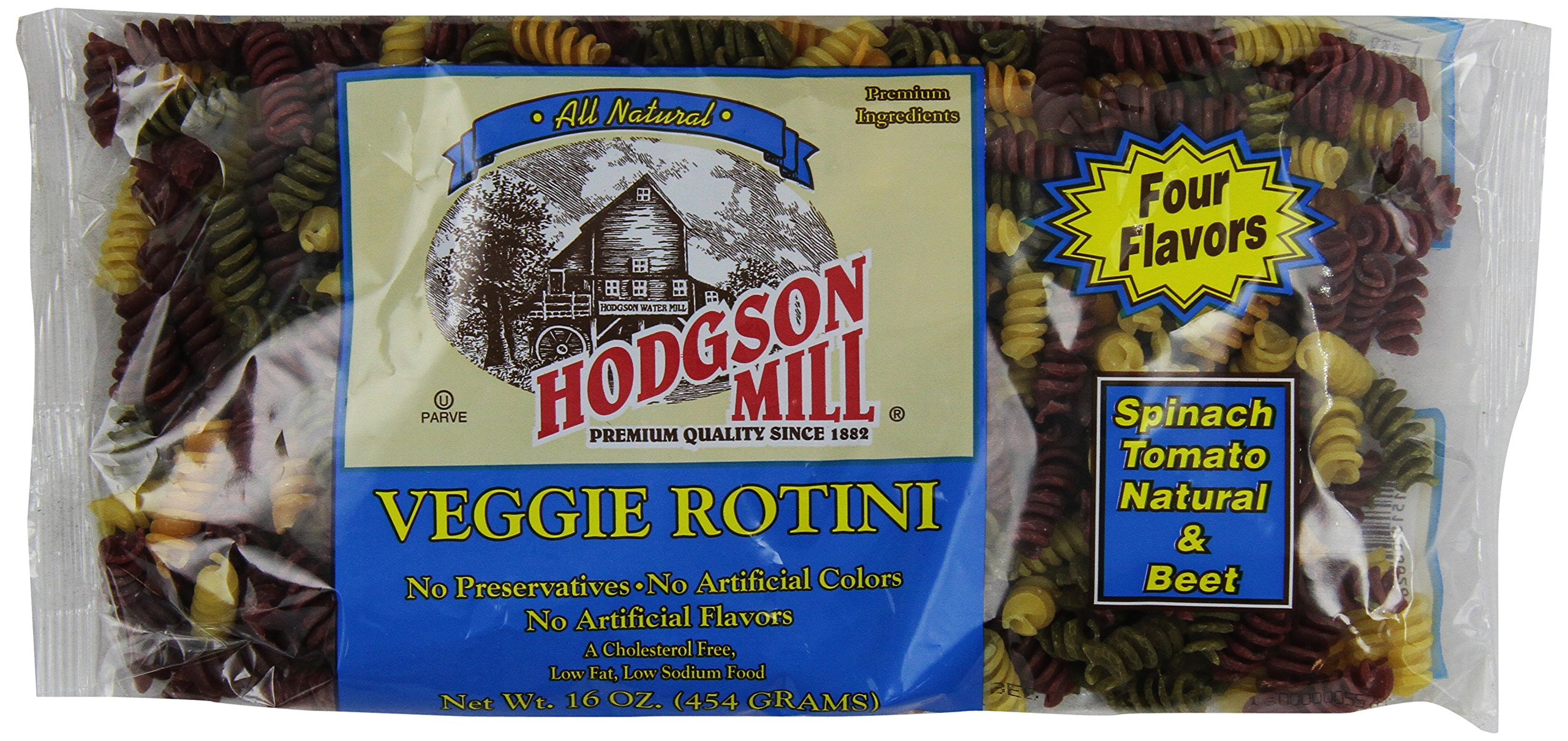 Hodgson Whole Wheat Veggie Rotini, 4 Natural Flavor, 16 oz