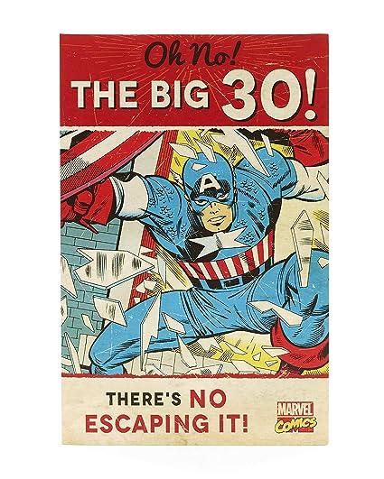 Hanson 345823-0-1 - Tarjeta de felicitación de 30 cumpleaños, diseño de los Vengadores de Marvel Capitán América