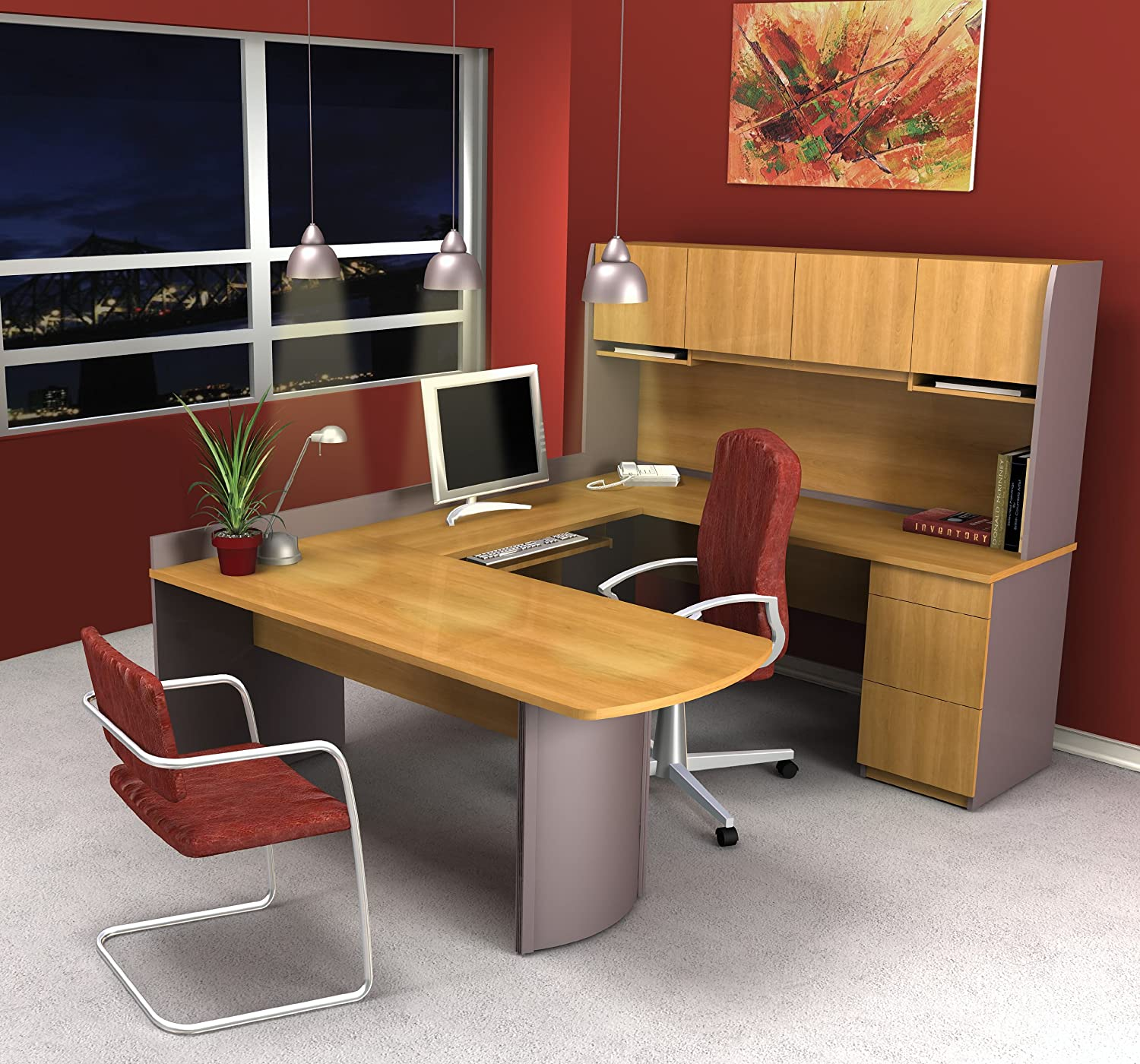 Perfect Amazon.com: Bestar Furniture 52412 68 Executive U Shaped Workstation With  Three Drawers With Two Locks In Cappuccino Cherry U0026: Kitchen U0026 Dining