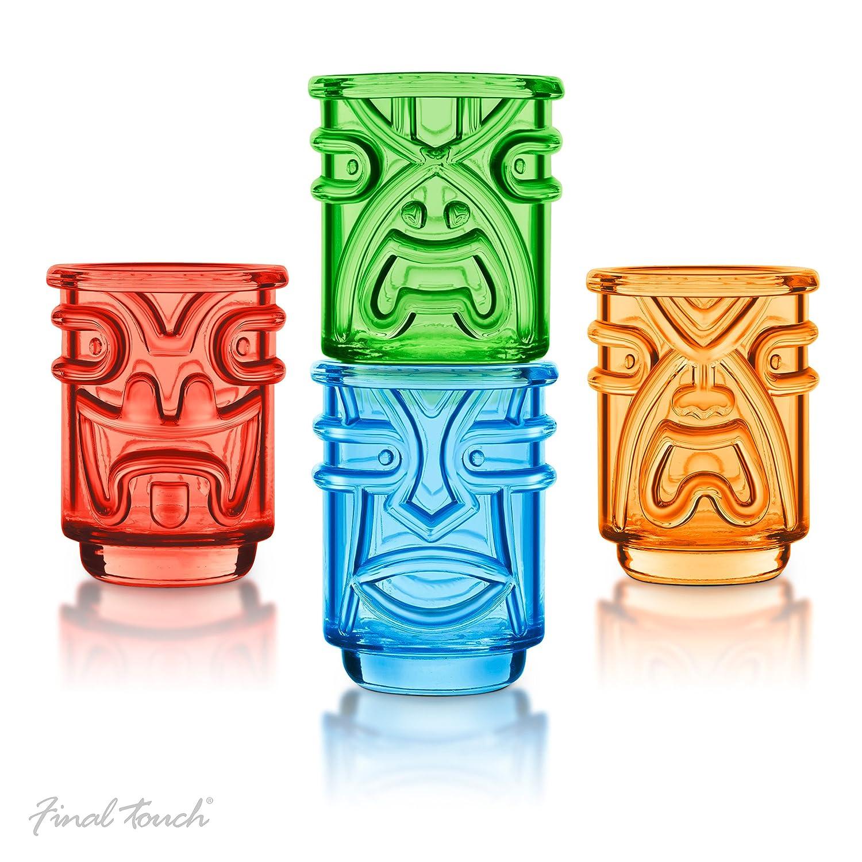 Final Touch TIKI Stapelbar Shot Glasses Schnapsgläser COLOURED Farben 60ml Hawaiian Themed 4 Stück - TK5402