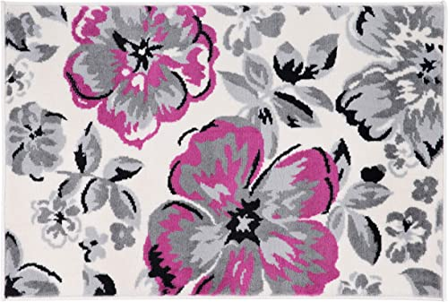 Modern Floral Area Rugs 2 x 3 Pink