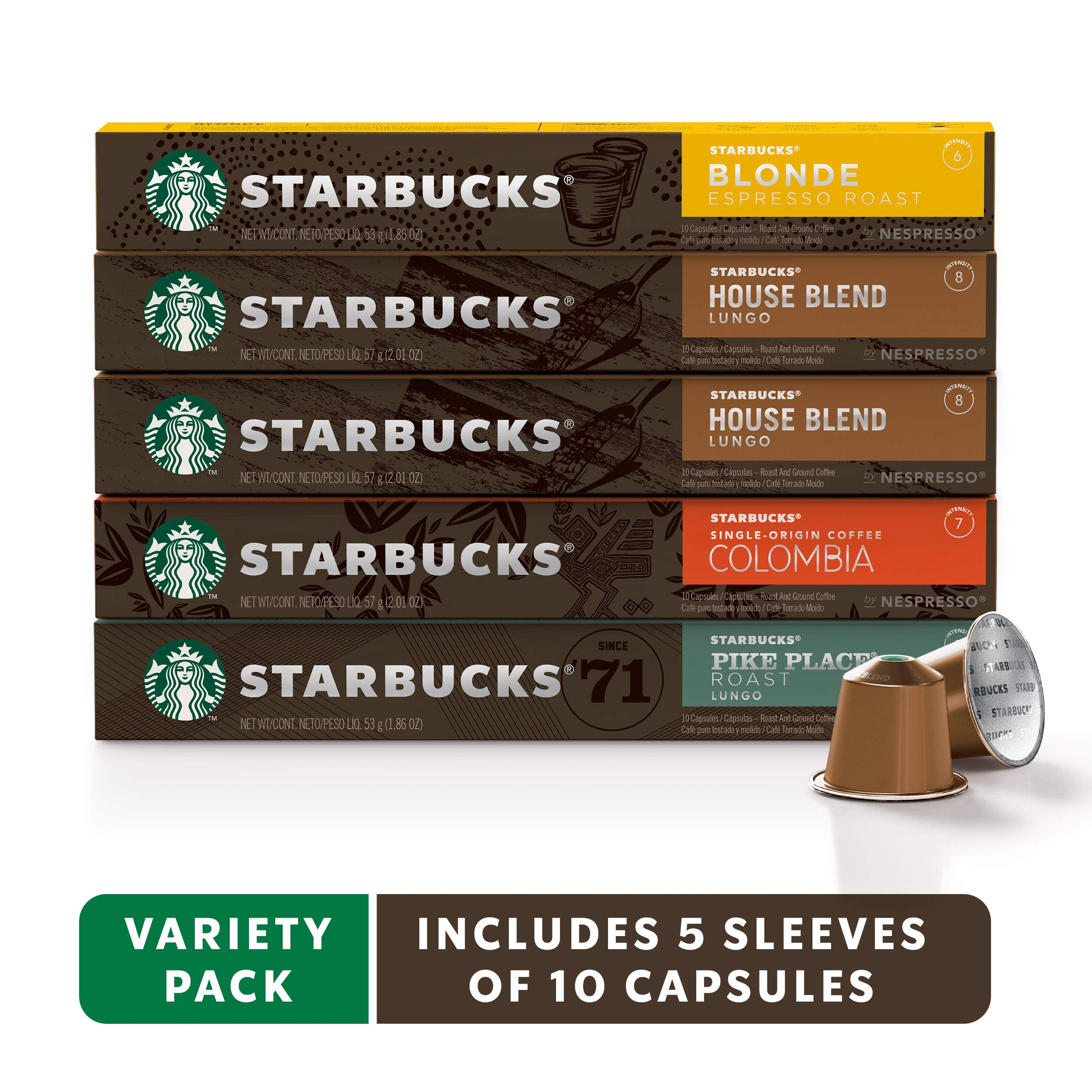 Starbucks by Nespresso, Mild Variety Pack (50-count single serve capsules, 10 of each flavor, compatible with Nespresso Original Line System) by Starbucks for Nespresso (Image #1)