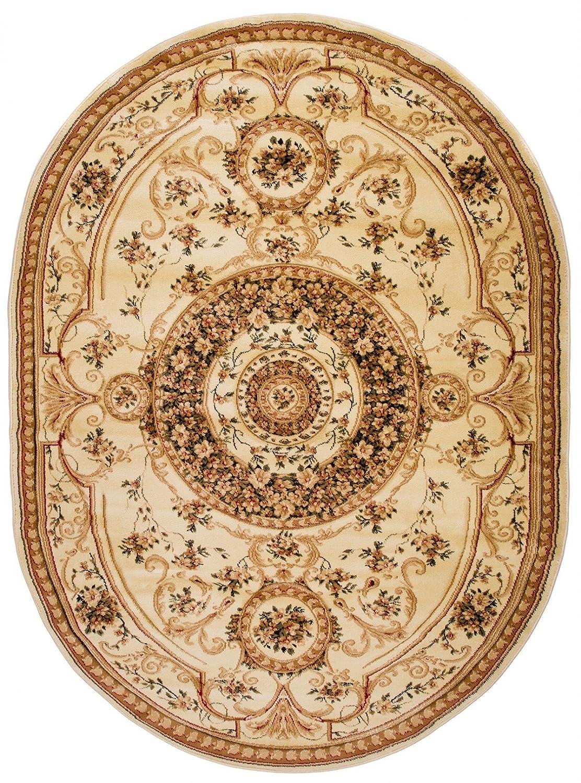 Carpeto Teppich Oval Orientteppich Creme 160 x 220 cm Medaillon Konturenschnitt Muster Iskander Kollektion