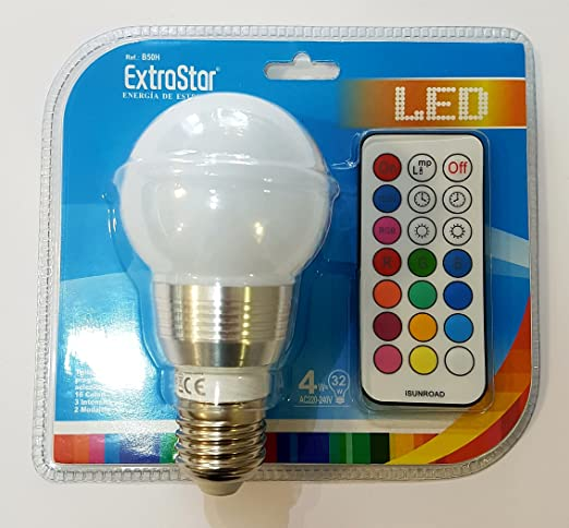 bombilla LED con mando a distancia para selección colores y intensidad