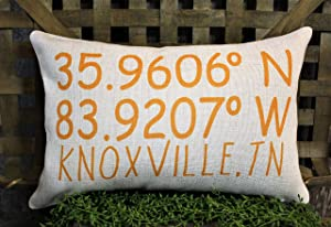 EricauBird Throw Pillow Cover-Knoxville TN Decor, Knoxville TN Pillow, Latitude Longitude Pillow, Location Pillow, Tennessee Pillow, Tennessee Decor, Knoxville TN,20x30