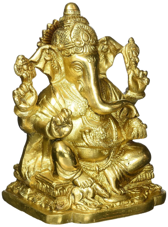 God Ganpati Maharaj, Hindu God Ganesha Brass Figure (15.24 cm, 10.8 cm, 8.26 cm) Gold