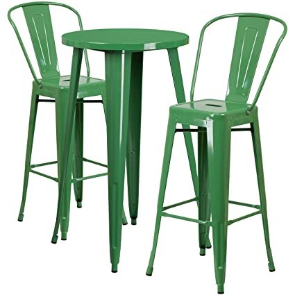 Amazoncom Flash Furniture Round Green Metal IndoorOutdoor - Metal cafe table and chairs