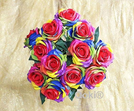 Rainbow colorful wedding bouquet,silk flower arrangement