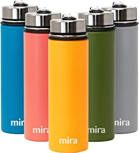 MIRA 22 Oz Stainless Steel Vacuum Insulated Wide Mouth Water Bottle - Thermos Keeps Cold for 24 hours, Hot for 12 hours - Double Wall Hydro Travel Flask - Pumpkin