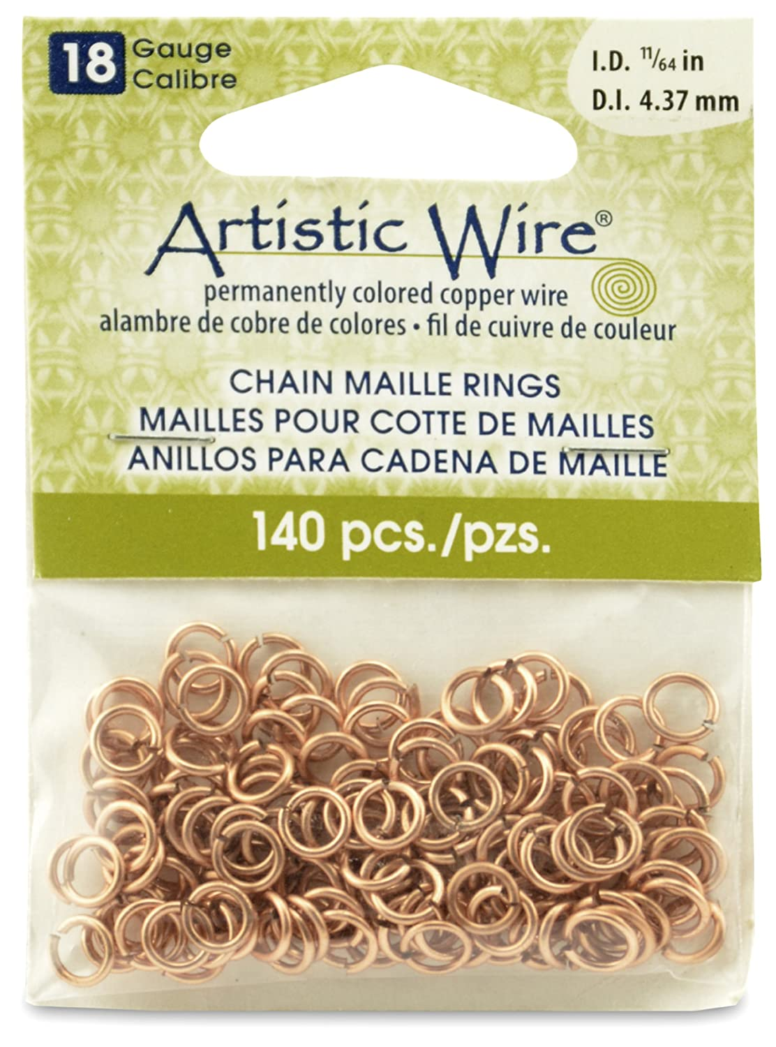 Artistic Wire Beadalon 11/64-inch 140 Piece 18-Gauge Natural Chain Maille Rings A314-18-10-07