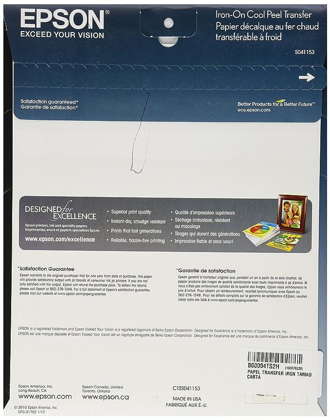 Amazon Epson Iron On Cool Peel Transfer 85x11 Inches 10