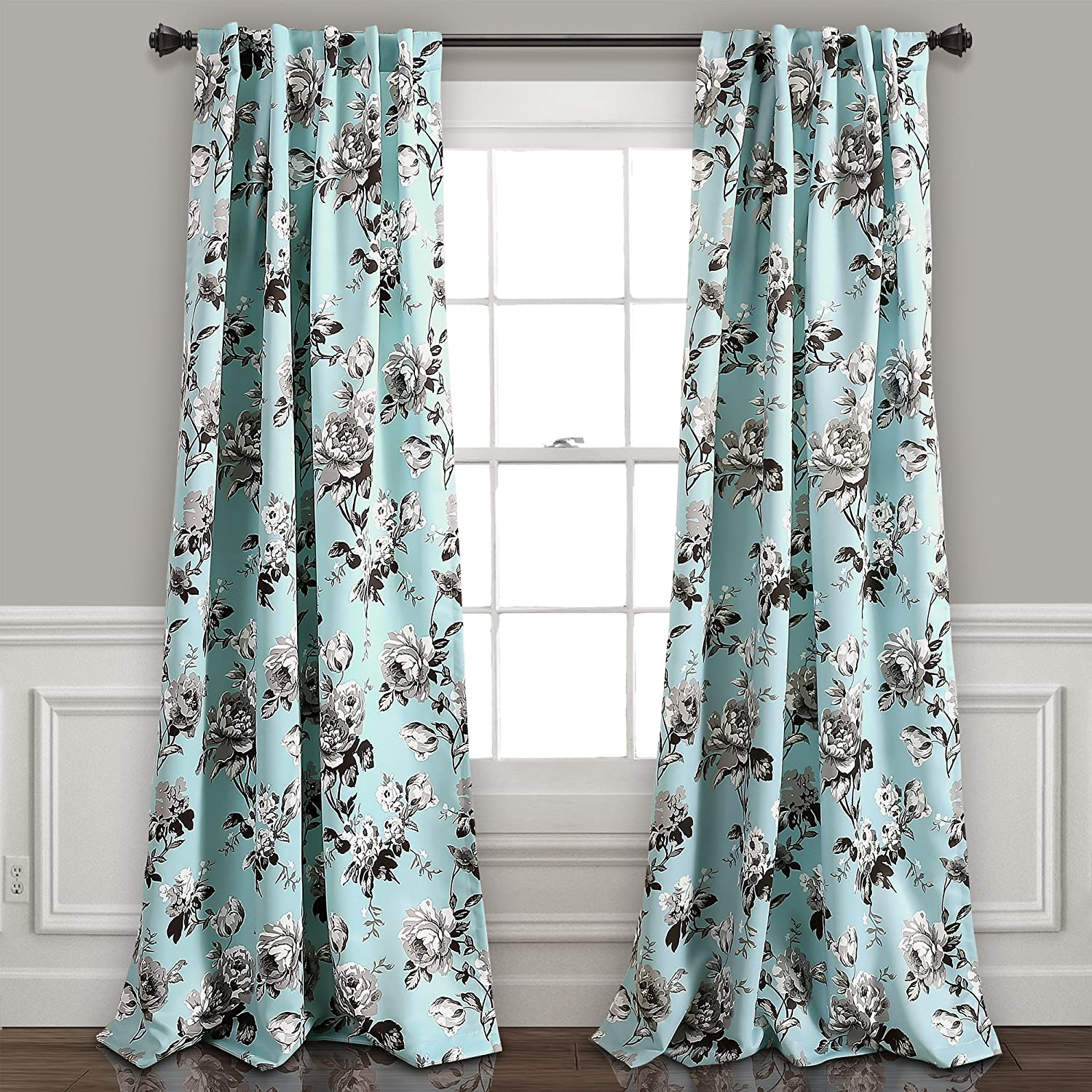 """Lush Decor, Blue and Gray Tania Curtains 