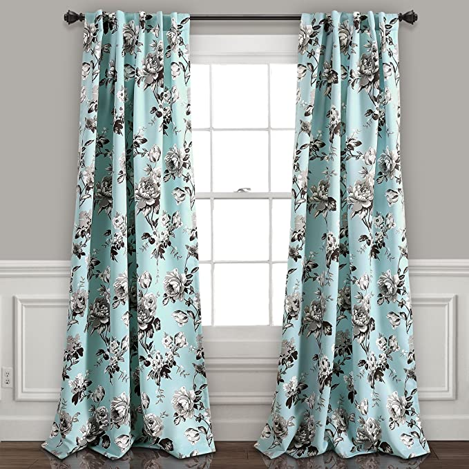 Amazon Com Lush Decor Blue And Gray Tania Curtains Floral Garden Room Darkening Window Panel Set For Living Dining Bedroom Pair 84 X 52 84 X 52 Home Kitchen