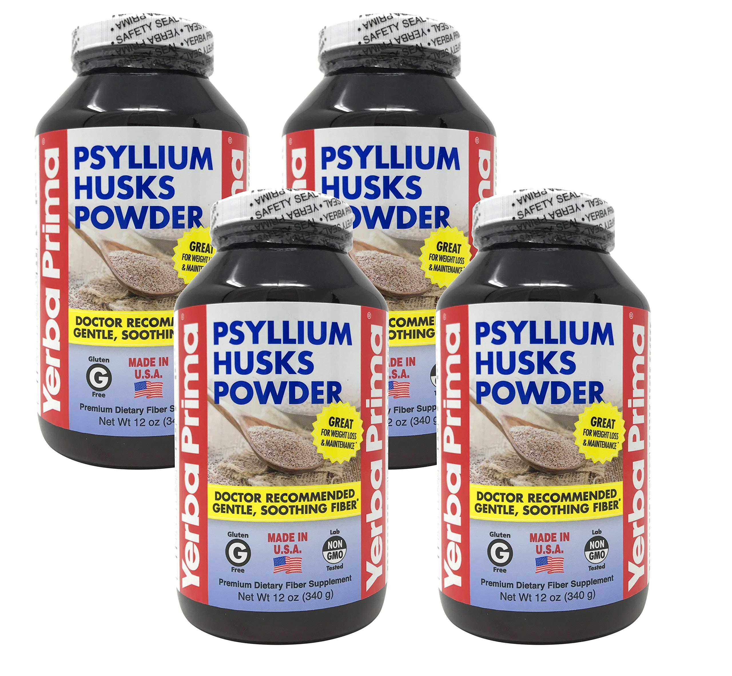 Yerba Prima Psyllium Husks Powder - for Promoting Regularity & Supports Heart Health, 12 oz (Pack of 4)
