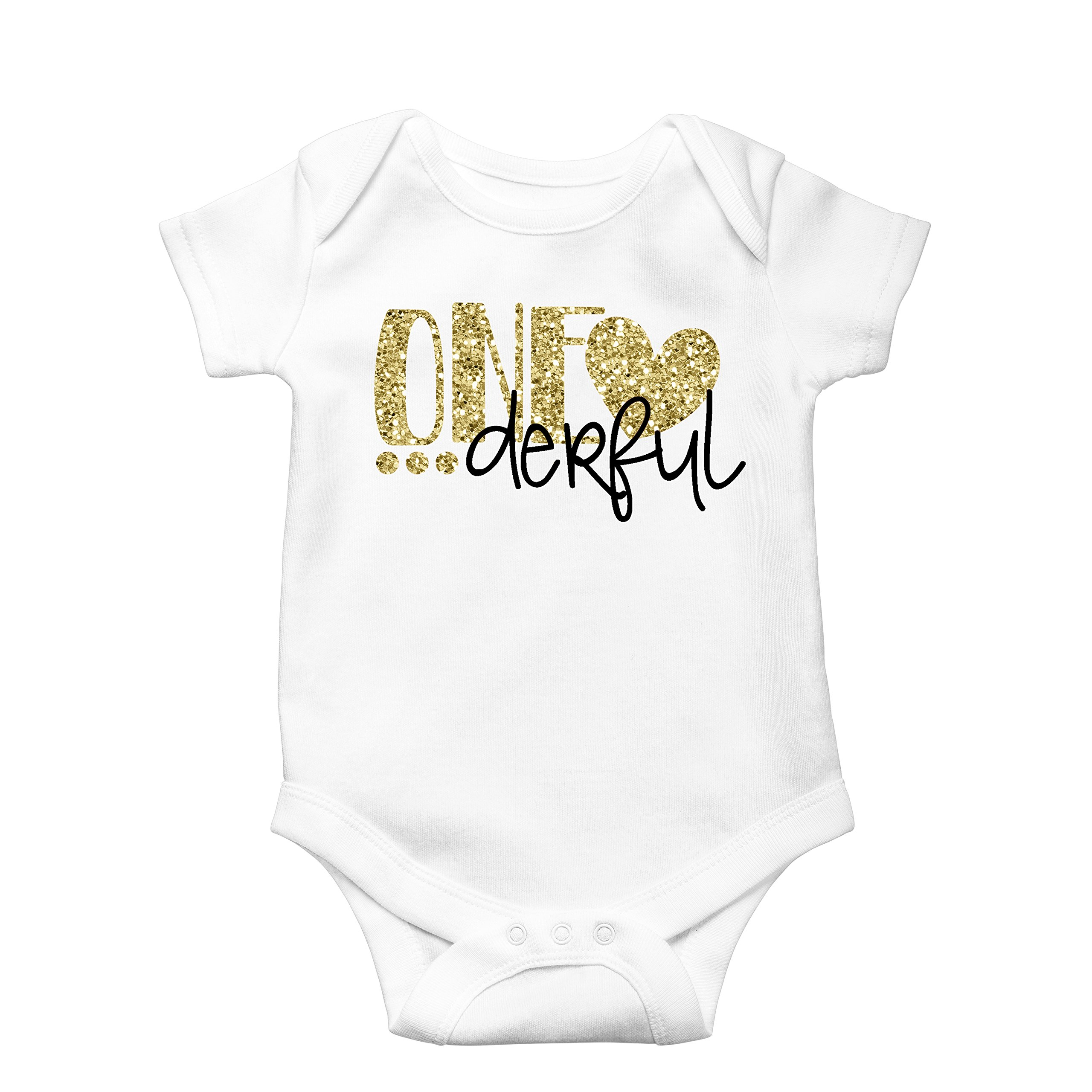 Girls One-Derful 1st Birthday Onesie Glitter Gold Baby onesie for 1st Birthday Outfit,12-18 months short sleeve,Gold