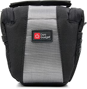 DURAGADGET Water-Resistant Black & Grey Cross-Body Carry Bag - Compatible with The Prestigio Roadrunner 320 | 545GPS | 570GPS