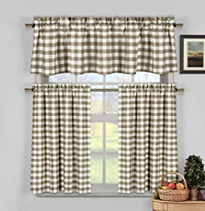 Home Maison Kingston Plaid Gingham Checkered Cotton Blend Kitchen 3 Piece Window Curtain Tier & Valance Set, 2 29 x 36 & One 58 x 15, Taupe