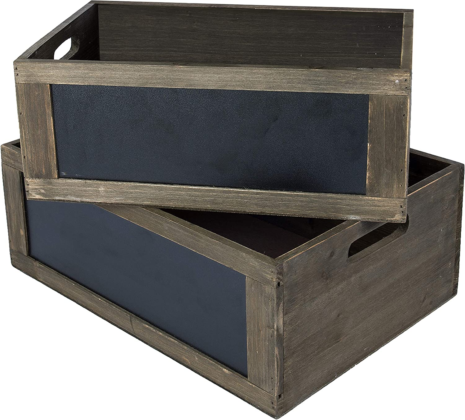 MyGift Set of 2 Rustic Brown Wood Nesting Storage Crates with Chalkboard Front Panel and Cutout Handles