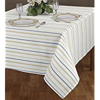 AJS Living Yarn Dyed Woven TC Table Cloth Cover Cotton Mercerised Fabric for Dining Table