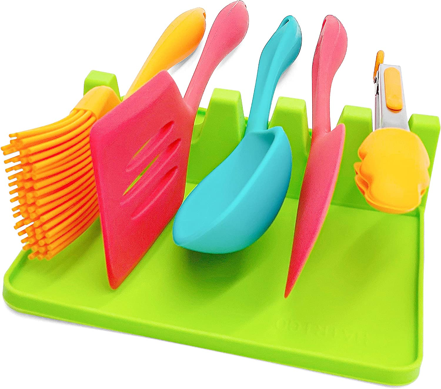 Large Silicone Spoon Rest for Kitchen with 5 Slots, Utensil Rest with Drip Pad 7 x 7 x 2 inch and more Slots (5 vs. 4), Spoon Holder for Stove Top, BBQ Utensil Holder for Spoons, Ladles, Green