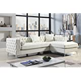 Iconic Home Da Vinci Right Hand Facing Sectional Sofa L Shape Chaise PU Leather Button Tufted with Silver Nailhead Trim Silvertone Metal Leg with 3 Accent Pillows, Modern Contemporary, Cream