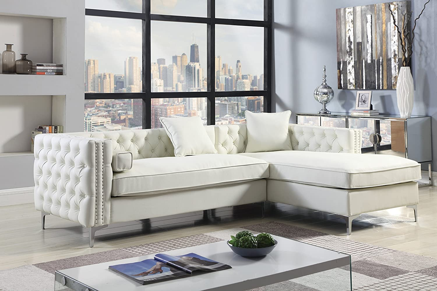 Iconic home da vinci right hand facing sectional sofa l shape chaise pu leather button tufted with silver nailhead trim silvertone metal leg with 3 accent