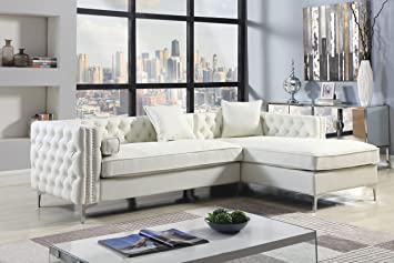 Fantastic Iconic Home Da Vinci Right Hand Facing Sectional Sofa L Shape Chaise Pu Leather Button Tufted With Silver Nailhead Trim Silvertone Metal Leg With 3 Short Links Chair Design For Home Short Linksinfo
