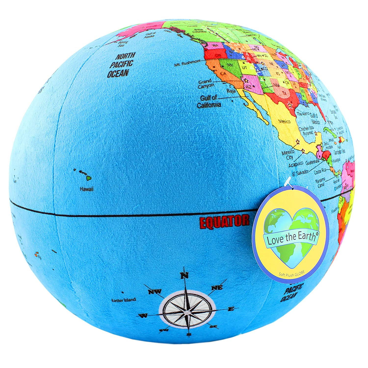 Attatoy Love-The-Earth Plush Planet Globe; 13 Educational World Stuffed Toy with Geo-Political Markings