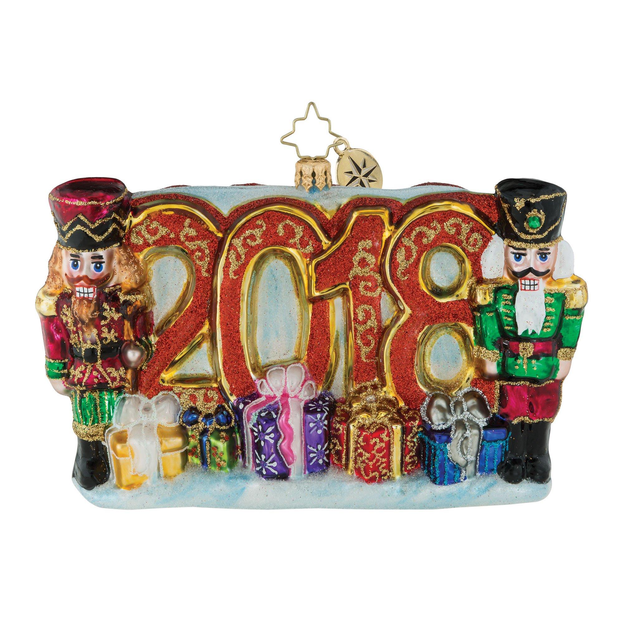 Christopher Radko 2018 A Very Nutty Year Nutcracker Themed Glass Ornament
