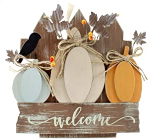 AuldHome Farmhouse Fall Door Sign, Wooden Door Decoration 12.5 x 12 Inches