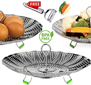 "UPGRADE Steamer Basket - Stainless Steel Vegetable Steamer Basket - Instant pot accessories 3,5,6 & 8qt - Folding Steamer Insert for Veggie Fish Seafood Cooking, Expandable Size (5.5"" to 9.3"")"