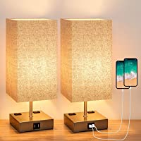 Yueximei Touch Control Table Lamp,3 Way Dimmable Touch Lamps with 2 Fast USB Charging Ports and 2 Ac Outlets,Modern…