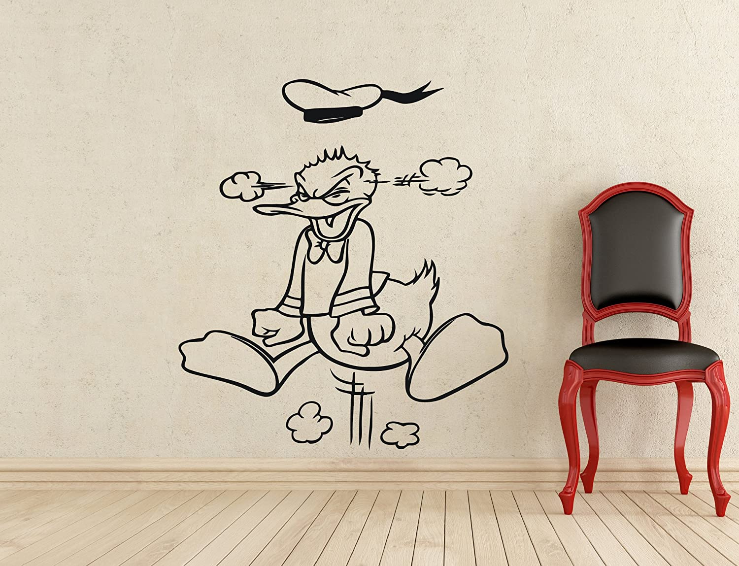 Angry Donald Duck Wall Decal Walt Disney Cartoons Vinyl Sticker Home Interior Art Wall Decoration Kids Girl Boy Room Nursery Mural Removable Waterproof Decal (350z)